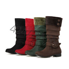 NEW Womens Low Heel Knee High Boots Shoes Round Toe Buckle AU Size YDXS3327