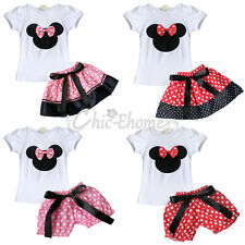 Baby Girl Minnie Mouse Top T Shirt +Skirt Suit Shorts Clothes Outfit Set Costume