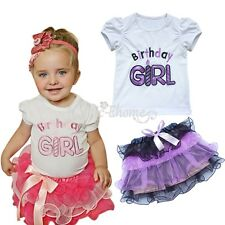 Baby Girls Birthday Outfit Top T-shirt+Ruffle Tutu Skirt Party Dress Clothes set