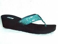 TEVA MUSH Mandalyn Wedge II Thong Sandals~HARMONY DEEP TEAL ~NEW 1000938