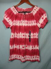 NWT Chaps by Ralph Lauren Women's Pinkish Red and White Tie Dye Button Neck Top
