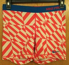 EUC NIKE PRO DRI-FIT FITTED SPANDEX COMPRESSION SHORTS~LARGE L~RED WHIT BLUE