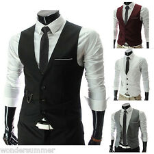 NEW Mens Casual Formal Slim Fit Business Dress Tops Tuxedo Vest Suit Waistcoat