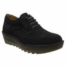 Fly London Jane Black Womens Brogue Wedge Lace Up Shoes
