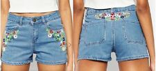 Ladies Womens Embroidered Denim Shorts Blue Hotpants Jeans Pants