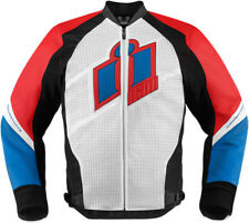 Icon Mens Glory/Red/White/Blue Leather Hypersport Motorcycle Jacket