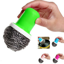 Hot Pot Brush Cleaning Round Handle Stainless Steel Scrubbers Tool Utensil