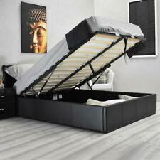 Single Double or King Size BLACK Faux Leather Ottoman Deep Storage Lift Up Bed