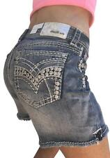 GRACE IN LA JEANS NWT Mid Rise Easy Embroidered Frayed Hem Shorts 29,30,31