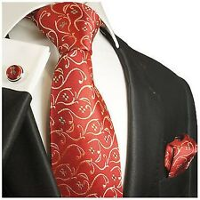 Silk Necktie Set by Paul Malone . Red, Gold and Green