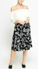 BNWT New Ladies Black Floral Lined Elasticated Waist Midi Skirt PLUS SIZE 20 22