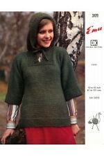 """Knitting Pattern Lady's DK Plain Popover With Hood To Knit 32-42"""" Emu 3171"""