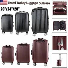 """20"""" 24"""" 28"""" Hard Shell Luggage Spinner Suitcase Trolley Box Travel Case Cabin US"""