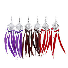 New 1 Pair Earrings Women Earrings Feather Earrings Peacock Silver Earrings