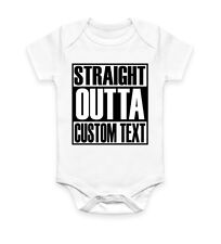 Straight Outta Custom Text Personalised Baby Grow Body Suit Vest Gift