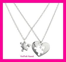 2pc BF Heart Puzzle Piece Heart fits together Family Silver Plated Necklaces USA