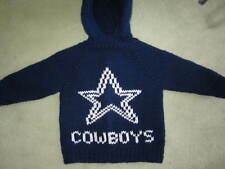NEW! Hand Knit Dallas Cowboys Baby Sweater back zipper 6 or 12 month Navy Hoodie