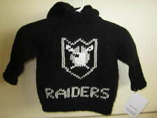 NEW! Hand Knit Baby NFL Raider Sweater back zipper 6 or 12 month Black Hoodie
