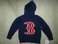 NEW! Hand Knit Boston Red Sox Baby Sweater back zipper 6 or 12 month Navy Hoodie