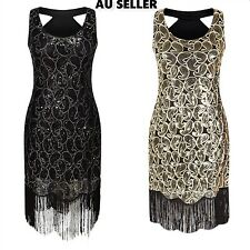 Women 1920s Gold Sequin Ladies Gatsby Flapper Evening Cocktail Party Dress