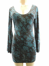 NEW PINK POLKADOT 384 Sharise Neil Teal Black Splatter Long Sleeve Dress Size S