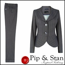 NEXT CROPPED CHINO TROUSER SUIT SIZE UK18/16 US14/12 GREY WOMENS LADIES WOMAN