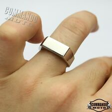 316L Men Stainless Steel Mirror Polished Square Band Ring Chrome Size 6 7 8 9