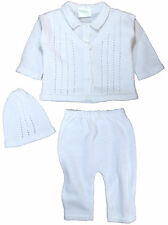 100% Cotton Knit Boys Infant 3 Piece Collared V-Neck Sweater, Pants & Cap