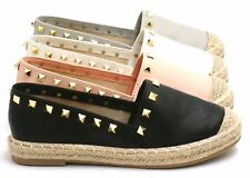 Ladies Flats Womens Low Wedge Studded Slip On Pumps Beach Plimsoles Shoes Size