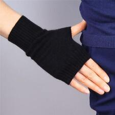 Wool Fingerless Gloves Arm Warmer Mitten Black Stretchy Wrist Long Unisex Cool
