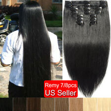Deluxe 7/8pcs Clip in 100% Real Human Hair Extensions Long Straight USPS SK011