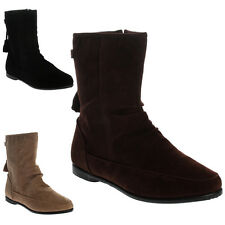 9G WOMENS FAUX SUEDE LADIES FLAT TASSEL ZIP UP PIXIE ANKLE BOOTS SHOES SIZE 3-8