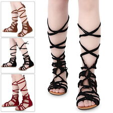 Women Ladies Strappy Gladiator Cut Out Sandal Knee High Boot Flat Summer Shoes M