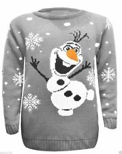 Unisex Olaf Frozen Knitted Retro Long Tunic Christmas Xmas Jumper Sweater Small