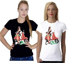 Ciao Bella Vintage Retro Classic Euro Scooter Pin Up Girl Ladies Summer T Shirt