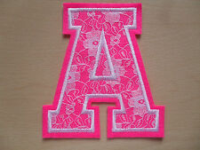 Large Pink & White Lace Letter - Height 13cm - Iron On Or Sew On - Free P&P