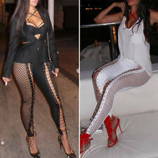 Women Hollow Fishnet Lace Up Leggings Punk Bodycon Pants Sexy Tight Trousers