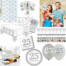 Silver Sparkle Happy 25th Anniversary Party Supplies Plates Decorations Listing