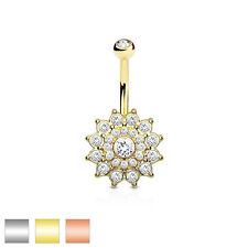 Crystal Paved Dhalia Flower Belly Bar / Navel Ring