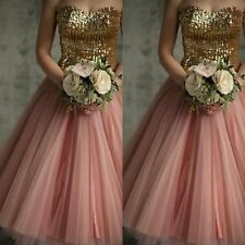 Sexy Pink Sequined Lace Cocktail Dresses Sweetheart Knee Length Party Gowns