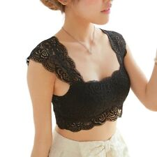 HOT 2016 New Women Sexy Lace Bralette Bra Bustier Crop Top Black Cropped Blusas