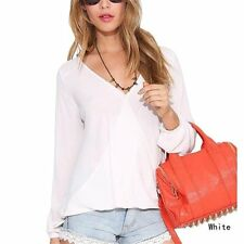 2017 New Summer Womens Tops And Blouses Deep V-Neck Women Blouses Chiffon Shirts