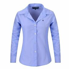 2017 New Women Long Sleeve Pure Color Striped Blouses Turn Down Collar Casual