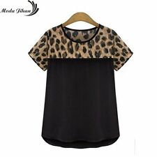 Women Blouses Leopard Print Short Sleeve Chiffon Shirts Ladies Tops Casual
