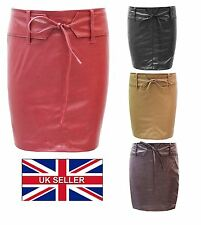 Womens Ladies PU Leather Skirt Zip Wet Look Summer Party PVC Mini