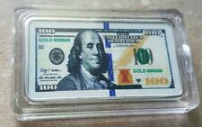 Colorized $100 Bill Design - 1 Troy oz Silver Clad 100 mills Bullion Bar  New!!