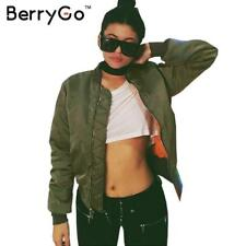 BerryGo Winter parkas Army Green bomber jacket Women coat cool basic down jacket