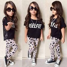 2PCS Toddler Kids Baby Girls Letter T-shirt Tops+Long Pants Outfits Clothes Set