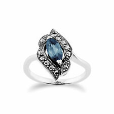 Gemondo Sterling Silver Blue Topaz & Marcasite Art Nouveau Ring