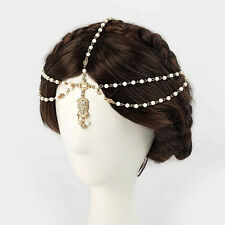 Women Lovely Metal Rhinestone Head Chain Jewelry Headband Head Piece Hair BandHG